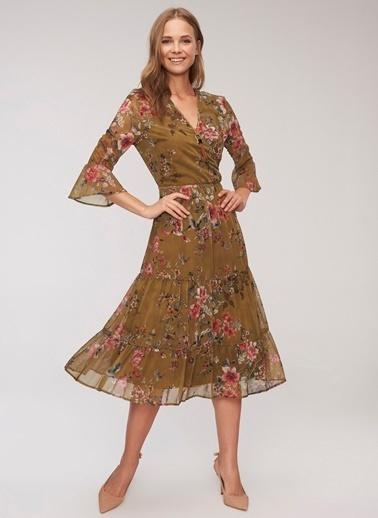 People By Fabrika Desenli Elbise Renkli